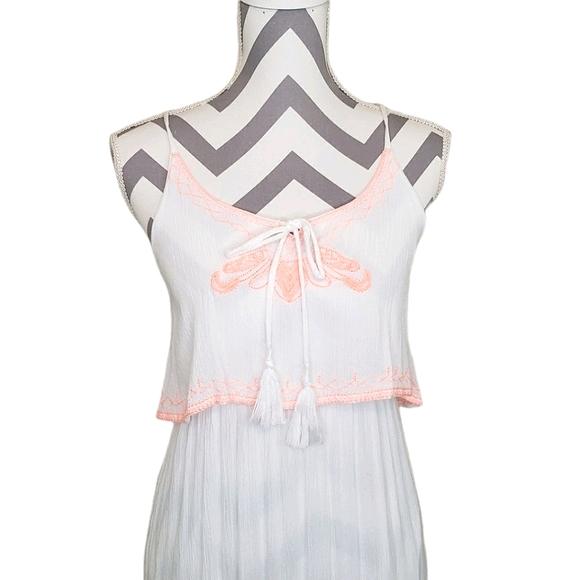 White & Orange Small Maxi Criss Cross Dress